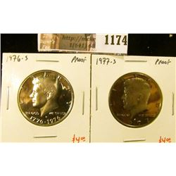 1174 . (2) Proof Kennedy Half Dollars, 1976-S & 1977-S, value for p