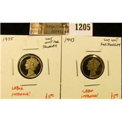 1205 . ( 2) Mercury Dimes cut out for jewelry (earrings, charms, et