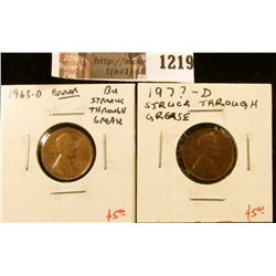 1219 . ERROR – 2 Lincoln Cents, 1963-D and 197(2)-D, both struck th