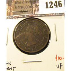 1246 . 1871 Prince Edward Island One Cent, VF, value $10