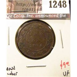 1248 . 1876H Canada One Cent, VF, value $9