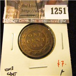 1251 . 1884 Canada One Cent, Obverse 2, F, value $7