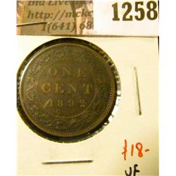 1258 . 1892 Canada One Cent, Obverse 3, VF, value $18