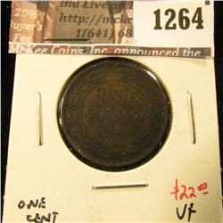 1264 . 1898H Canada One Cent, VF, value $22
