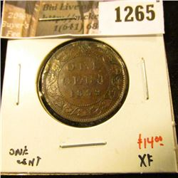 1265 . 1899 Canada One Cent, XF, value $14