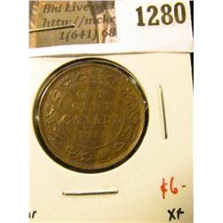 1280 . 1913 Canada One Cent, XF, value $6