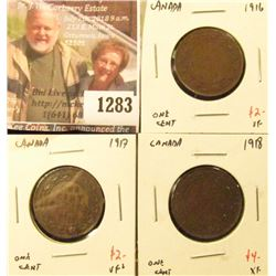 1283 . (3) Canada (Large) One Cents 1916 VF, 1917 VF+, 1918 XF, gro