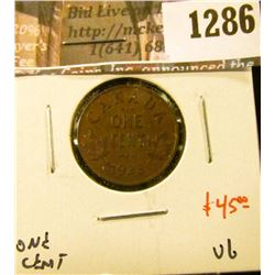 1286 . 1923 Canada One Cent, VG, KEY DATE, value $45