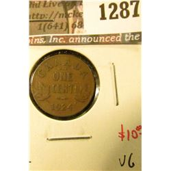 1287 . 1924 Canada One Cent, VG, semi-key date, value $10
