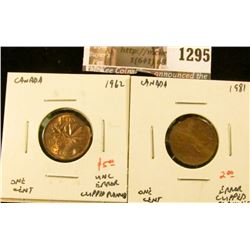 1295 . Pair of ERROR Canada One Cents, 1962 UNC clipped planchet, 1