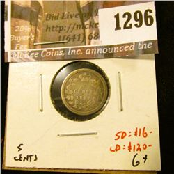 1296 . 1858 Canada Five Cent Silver, G+, small date value $16, larg