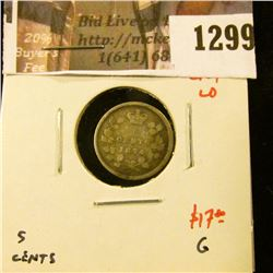 1299 . 1874 crosslet 4 large date Canada Five Cent Silver, G, value