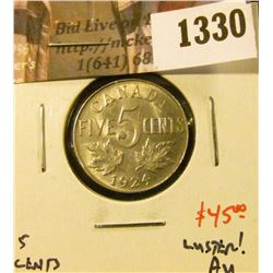 1330 . 1924 Canada Five Cents, AU with luster, value $45