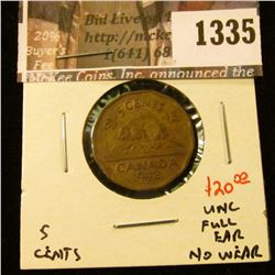 1335 . 1942 Tombac Canada Five Cents, UNC, full ear, no wear, value