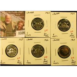 1339 . (5) Canada Five Cents, 1963, 1964, 1965, 1966, 1967, all BU