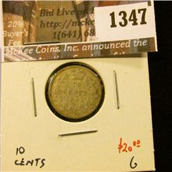 1347 . 1891 22 leaves Canada Ten Cents, G, value $20