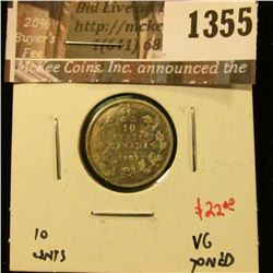 1355 . 1903 Canada Ten Cents, VG toned, value $22