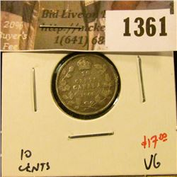 1361 . 1908 Canada Ten Cents, VG, value $17
