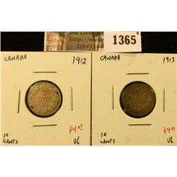 1365 . (2) Canada Ten Cents, 1912 & 1913 both VG, value for pair $8
