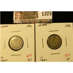 1375 . (2) Canada Ten Cents 1931 VG+ & 1936 VF, value for pair $8