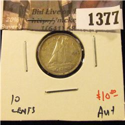 1377 . 1947 ML Canada Ten Cents, AU+, value $10