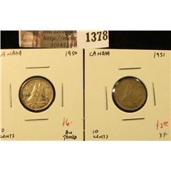 1378 . (2) Canada Ten Cents 1950 AU toned, 1951 XF, value for pair