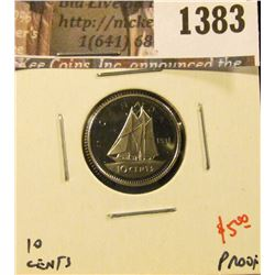 1383 . 1991 Canada Ten Cents, Proof, value $5