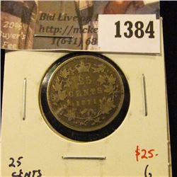 1384 . 1871 Canada 25 Cents, obverse 2, G, value $25