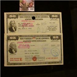 1387 . $25 & $50 Series E United States War Savings Bonds, both can