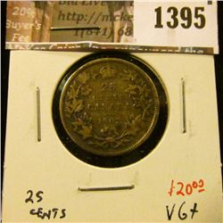 1395 . 1902 Canada 25 Cents, VG+, low mintage, value $20