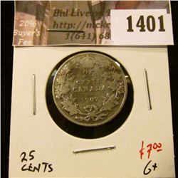 1401 . 1907 Canada 25 Cents, G+, value $7