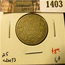 1403 . 1909 Canada 25 Cents, G+, value $8