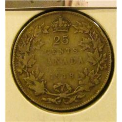 1412 . 1918 Canada 25 Cents, VF toned, value $15