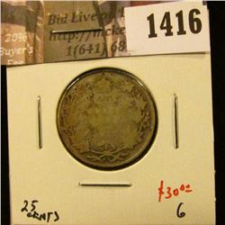 1416 . 1927 Canada 25 Cents, G, low mintage, tough date, value $30