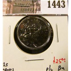 1443 . 1991 Canada 25 Cents, BU proof-like, key date, value $25