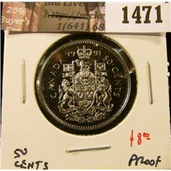 1471 . 1991 Canada 50 Cents, Proof, value $8