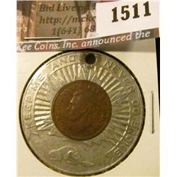 "1511 . 1947 ML Canada One Cent, encased in aluminum ""Souvenir of Ca"