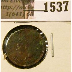 1537 . 1874 Indian Head Cent, EF, heavy corrosion.