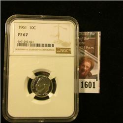 1601 . 1961 Roosevelt Dime Graded Proof 67 By NGC