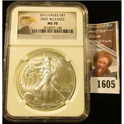 1605 . 2012 Eagle Graded Ms 70 First Release By NGC