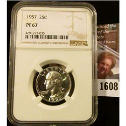 1608 . 1957 Proof Washington Quarter Graded Proof 67 By NGC