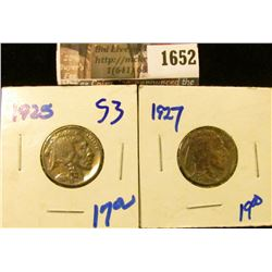1652 . 1925 and 1927 Buffalo Nickels With Full Horns
