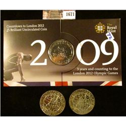1671 . Two God Save The Queen 2003 5 Pound Coins Commemorating The