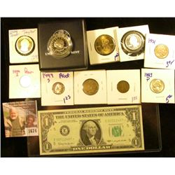 1674 . Hodgepodge Lot Includes 1999 Copy Coin Delaware State Quarte