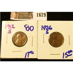 1679 . Key Dates 1912-S and 1926-S Wheat Cents