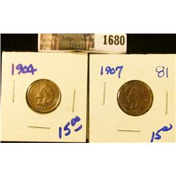 1680 . 1904 and 1907 Indian Head Cents