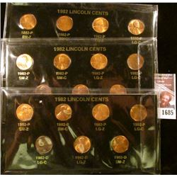 1685 . (3) Sets Of All 7 Varieties Of 1982 Memorial Cents