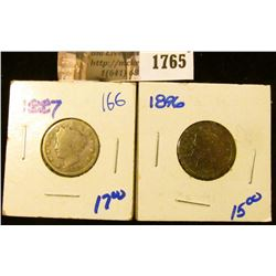 1765 . Better Dates 1887 and 1896 V Nickels