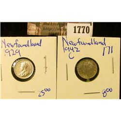 1770 . Newfoundland 1929  and 1942-C Silver 5 Cent Pieces