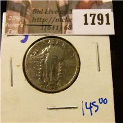 1791 . Key Date 1927-S Standing Liberty Quarter.  This Coin Books F